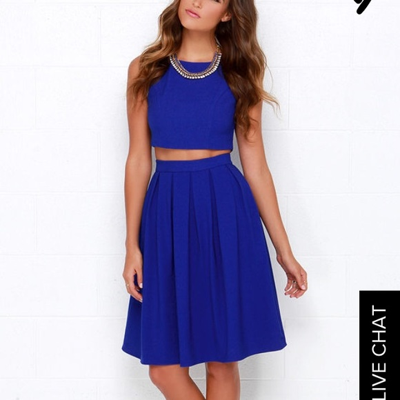 Lulu S Dresses Lulus Splendidly Spry Royal Blue 2 Piece Dress